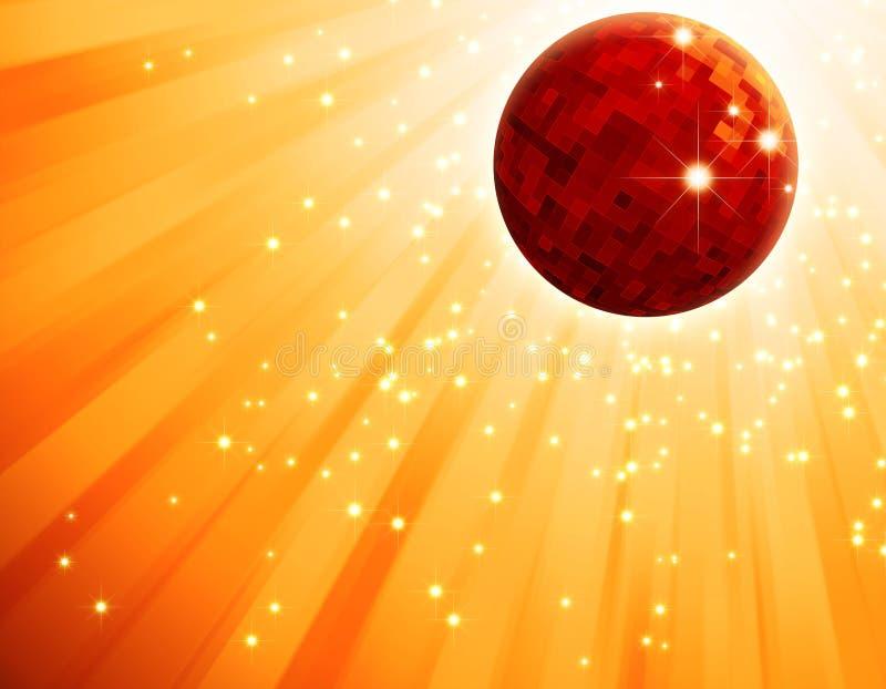 Sfera rossa scintillante della discoteca sul burst dell'indicatore luminoso arancione illustrazione vettoriale
