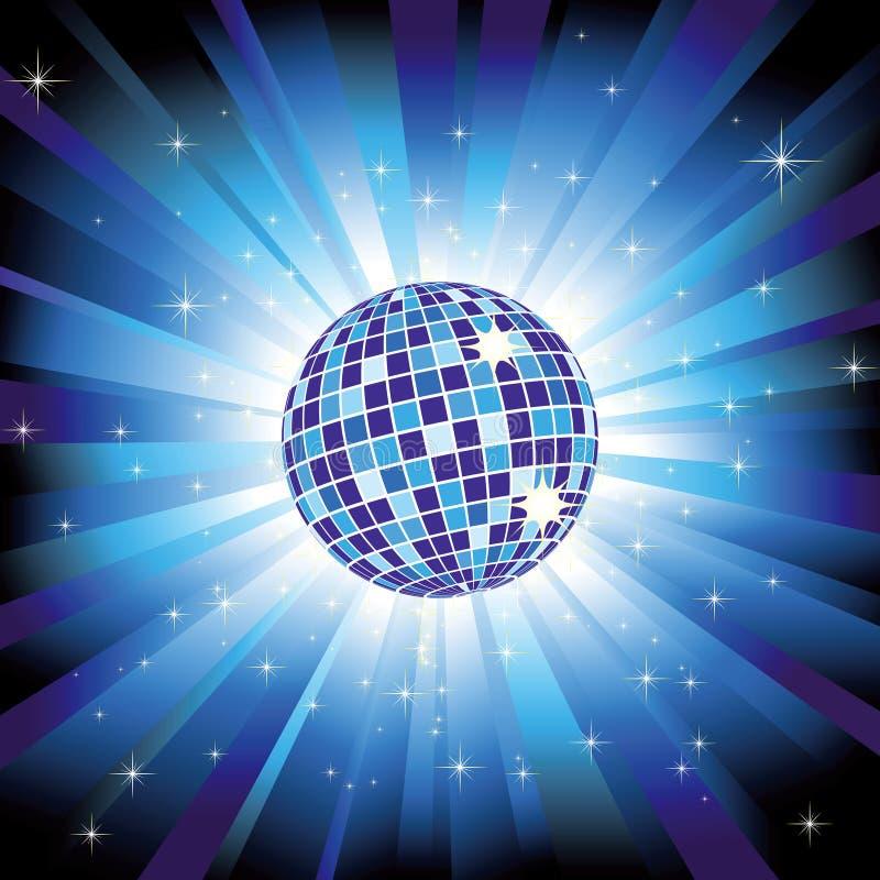 Sfera scintillante della discoteca sul burst blu dell'indicatore luminoso illustrazione di stock