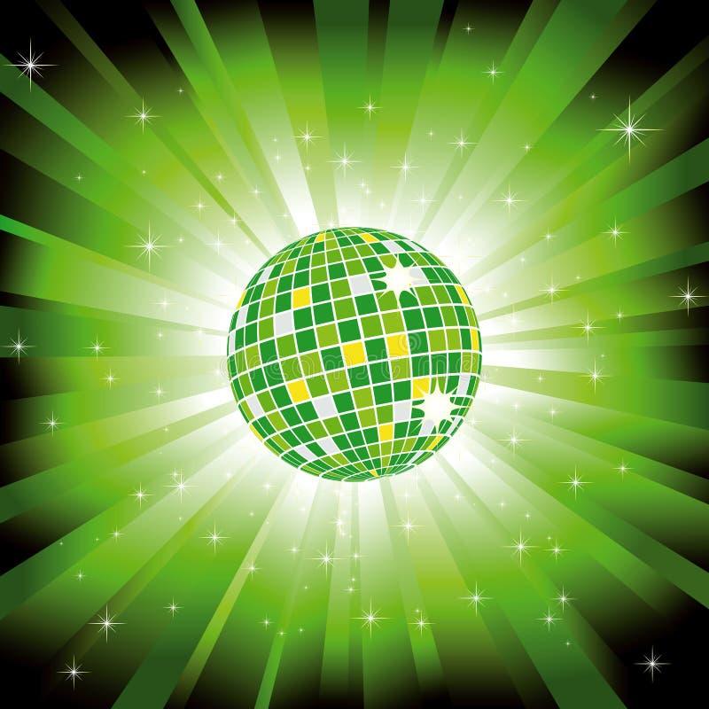 Sfera scintillante della discoteca sul burst dell'indicatore luminoso verde illustrazione vettoriale