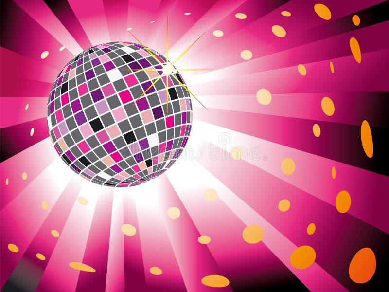 Sfera scintillante della discoteca sul burst rosso magenta dell'indicatore luminoso illustrazione di stock
