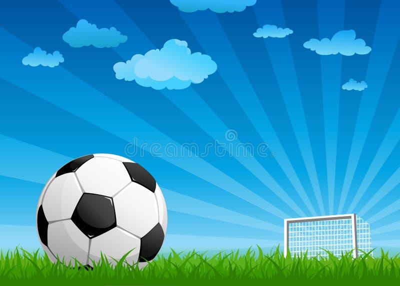 Sfera su un passo di gioco del calcio illustrazione vettoriale