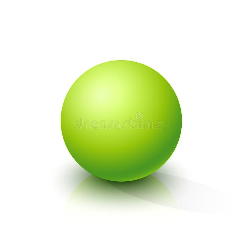 Sfera verde acida su un fondo bianco illustrazione vettoriale