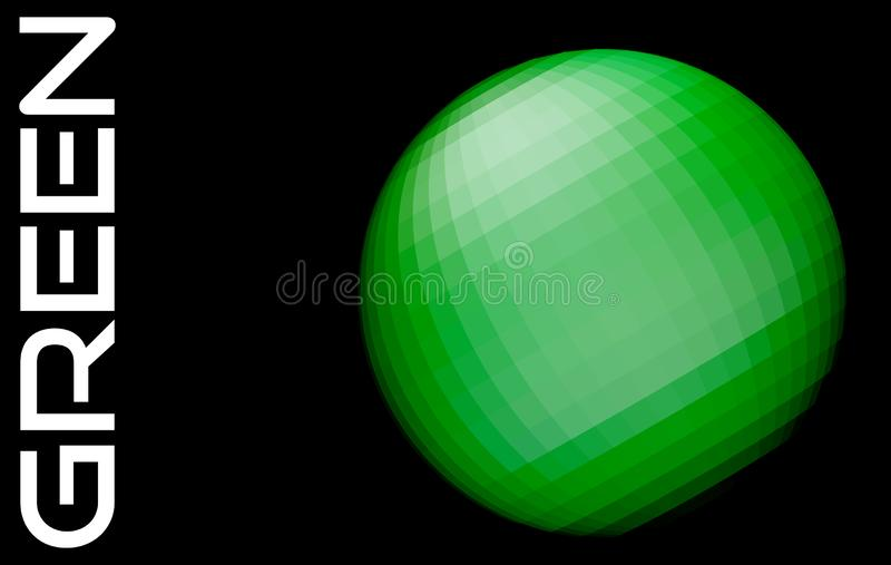 Sfera verde astratta sul nero Grafici di vettore illustrazione di stock