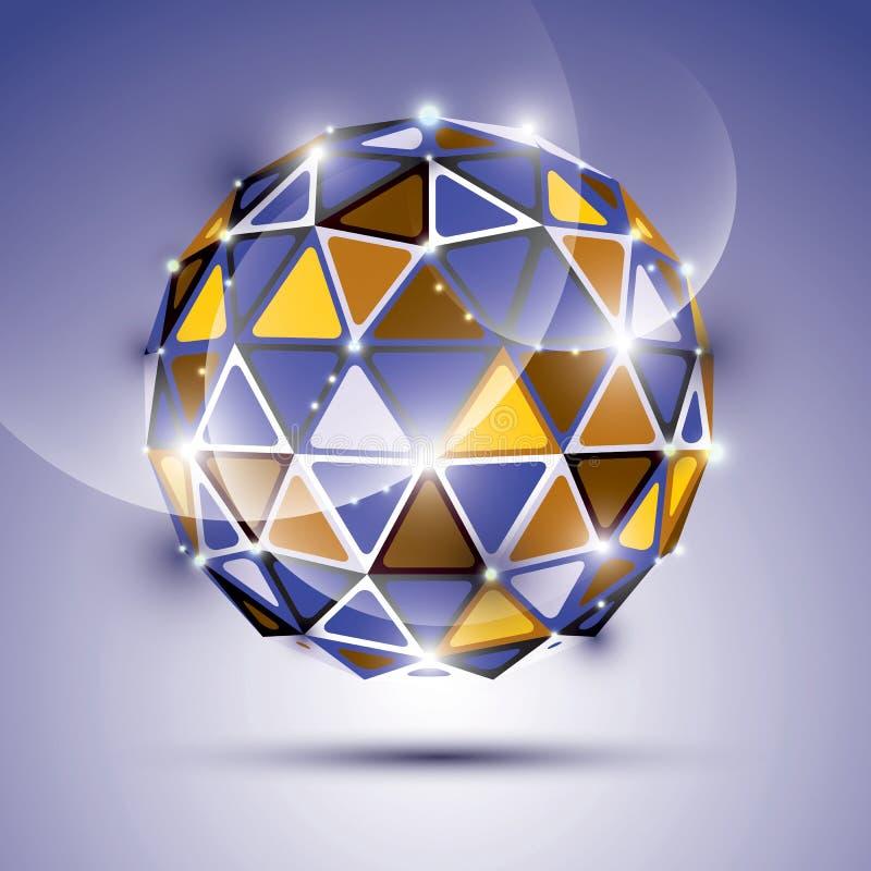 Sfera viva astratta con effetto della pietra preziosa, globo di galà 3D di scintillio royalty illustrazione gratis