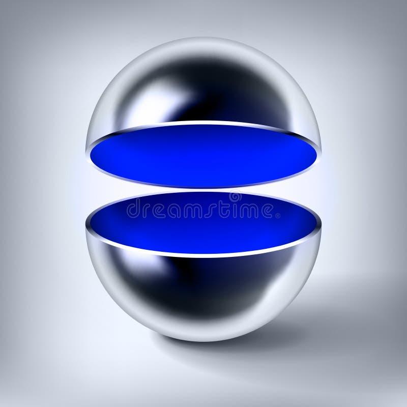 Sfera vuota del cromo di vettore, palla di metallo lucida aperta, interno blu, oggetto astratto per voi progettazione di progetto illustrazione vettoriale