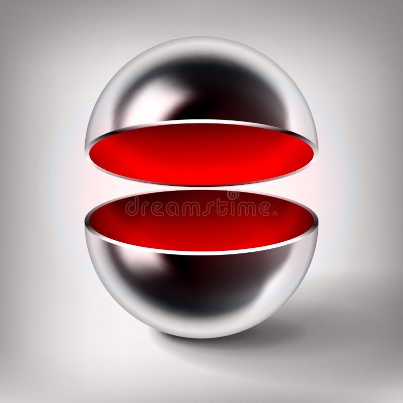 Sfera vuota del cromo di vettore, palla di metallo lucida aperta, interno rosso, oggetto astratto per voi progettazione di proget illustrazione di stock
