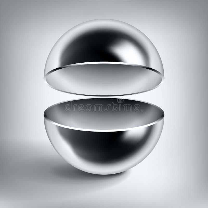 Sfera vuota del cromo di vettore, palla di metallo lucida aperta, oggetto astratto per voi progettazione di progetto illustrazione vettoriale