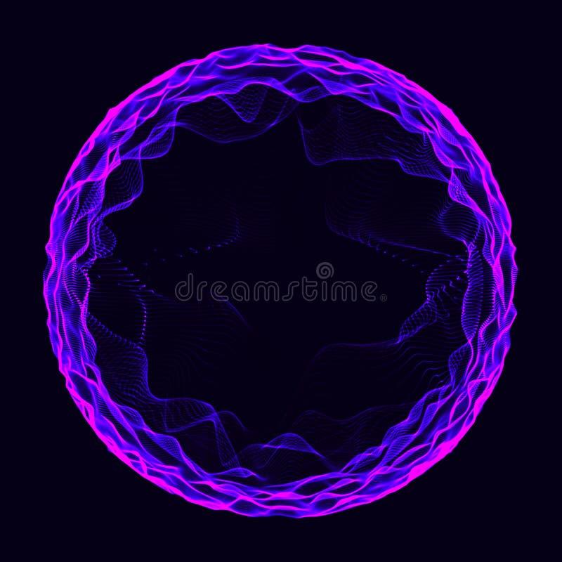 Sfera wieloskładnikowi punkty Abstrakcjonistyczny wormhole ?wiadczenia 3 d royalty ilustracja