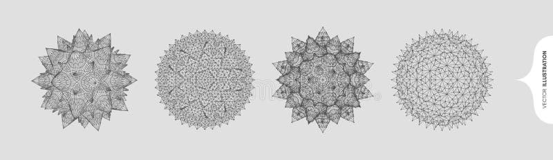 Sfera z połączonymi liniami i kropkami Abstrakcyjna siatka molekularna Kryształ ilustracja wektorowa 3d dla chemii, biologii, med ilustracji