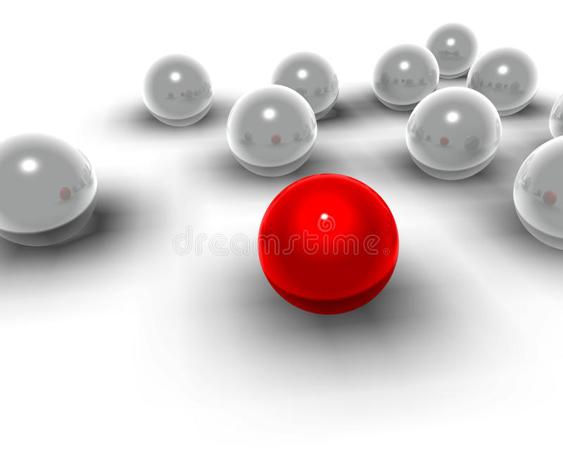 sfere 3d e sfere rosse di differente illustrazione di stock