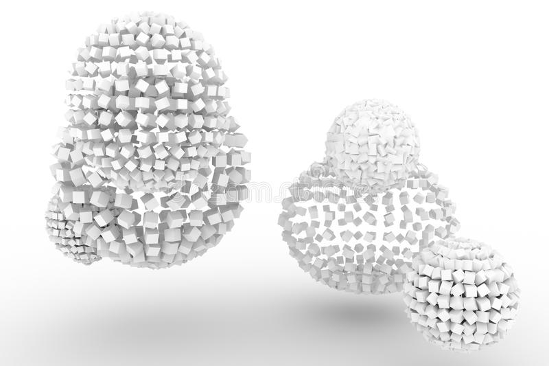 Sfere dai quadrati, stile moderno fondo delicatamente bianco & grigio Spazio in bianco, spazio, progettazione & luce illustrazione vettoriale