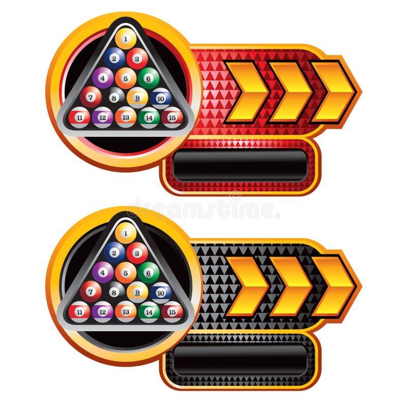 Sfere di biliardo sull'annuncio checkered rosso e nero della freccia royalty illustrazione gratis