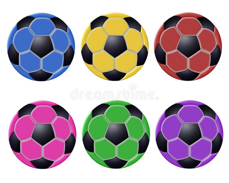 Sfere di calcio variopinte illustrazione di stock