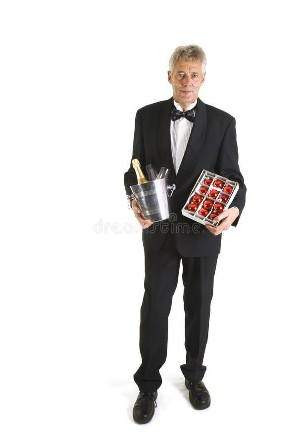 Sfere di natale e di Champagne immagini stock