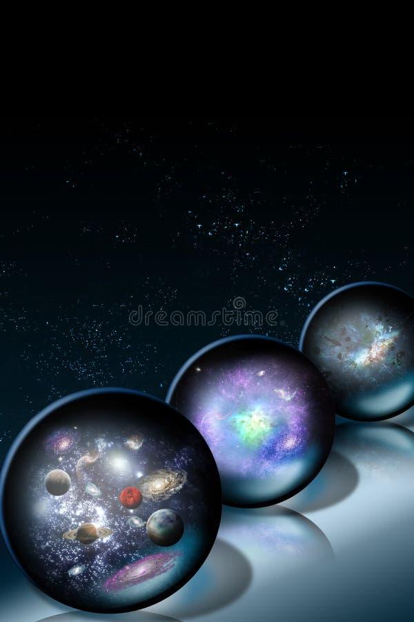 Sfere di vetro dello spazio illustrazione vettoriale