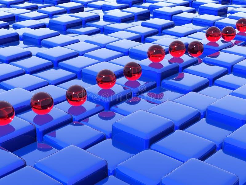 Sfere di vetro sui cubi illustrazione vettoriale