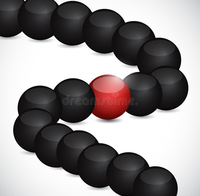 Sfere nere ed una nel rosso Illustrazione illustrazione di stock