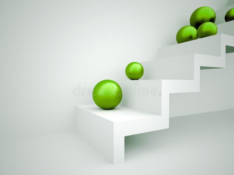 Sfere verdi sul concetto delle scale illustrazione di stock