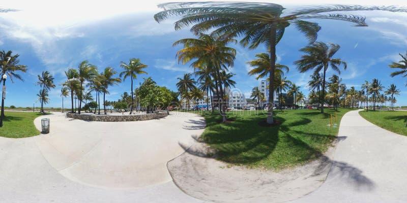 Sferisch beeld 360 van het Strand van Miami royalty-vrije stock foto's