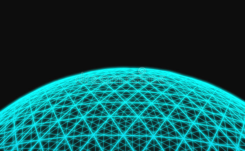 Sferisch blauw net op zwarte achtergrond vector illustratie