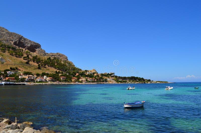Sferracavallo,巴勒莫,西西里人的海岸线,欧洲,地中海区域视图  库存照片