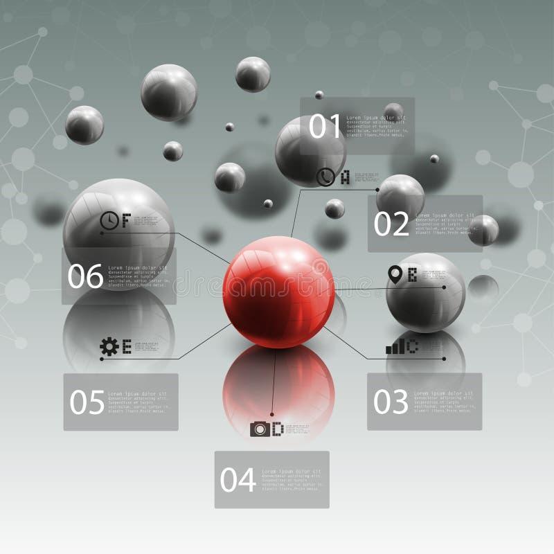 Sfery w ruchu na szarym tle Czerwona sfera ilustracji