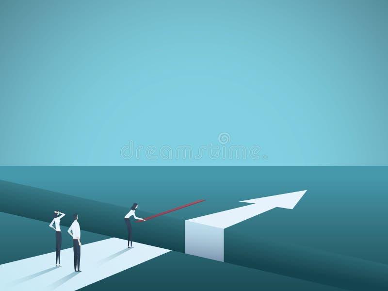Sfida di affari sormontata e che trova concetto di vettore delle soluzioni Ponte della costruzione della donna sopra la lacuna Si illustrazione di stock