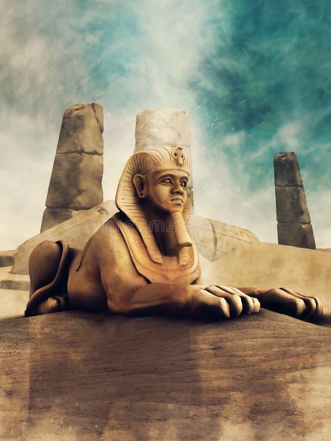 Sfinge antica nel deserto illustrazione di stock