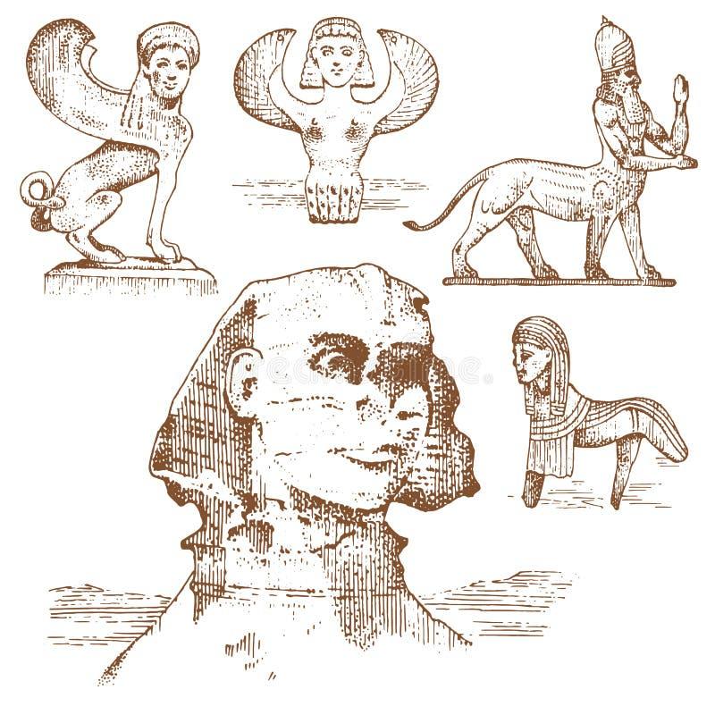 Sfinge egiziana ed altre creature fantastiche, simboli di mitologia delle civilizzazioni antiche, centaurus illustrazione vettoriale
