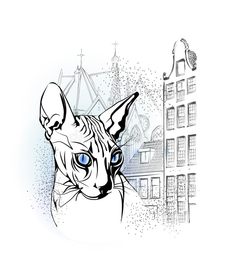 Sfinksa kot w starym Europejskim mieście ilustracji