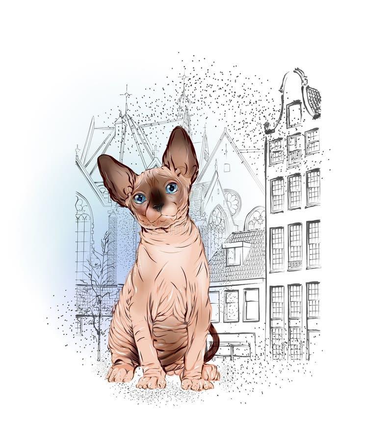 Sfinksa kot w starym Europejskim mieście ilustracja wektor