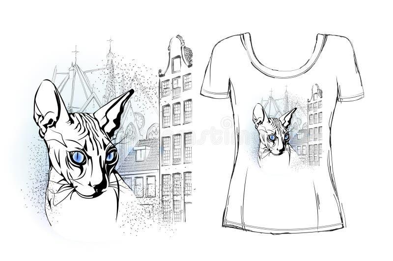 Sfinksa kot w starym Europejskim mieście dla koszulka projekta ilustracji