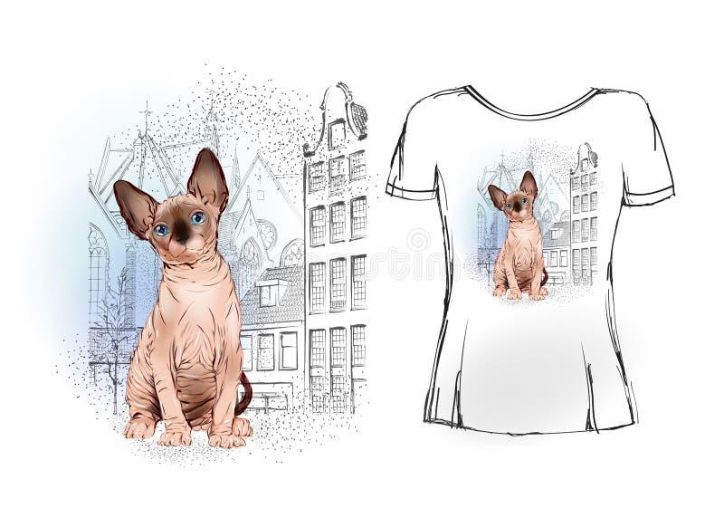 Sfinksa kot w starym Europejskim mieście dla koszulka projekta ilustracja wektor