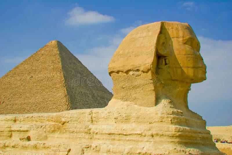 Sfinx en Piramide royalty-vrije stock afbeelding