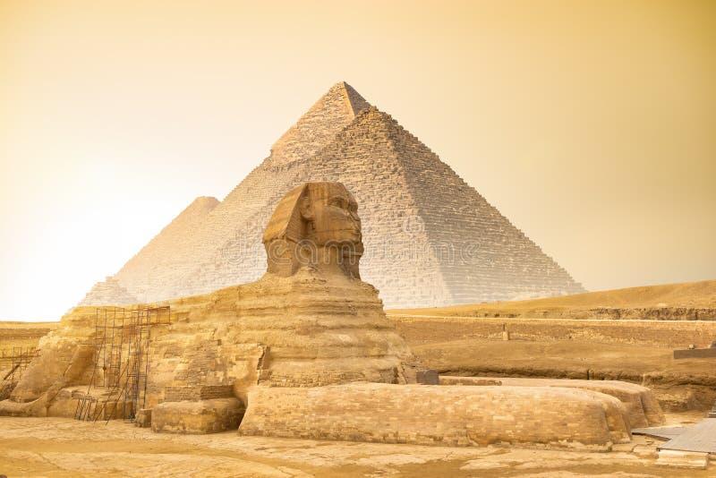 Sfinx en piramides bij zonsondergang stock foto's