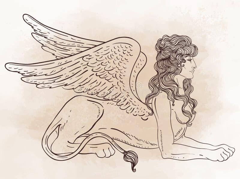 Sfinx, mythisch schepsel met hoofd van mens, lichaam van leeuw en w vector illustratie