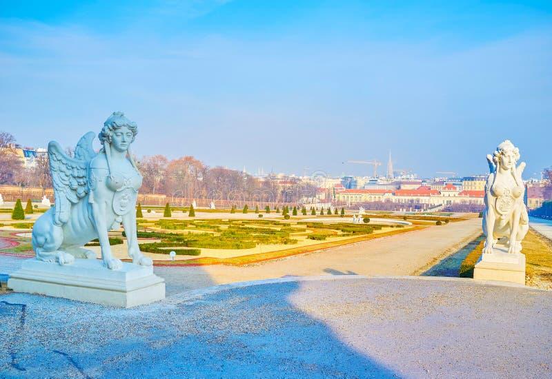 Sfinx twee in Belvedere Tuin in Wenen, Oostenrijk royalty-vrije stock foto