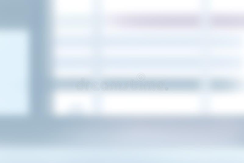 Sfocatura astratta di sfondo blu interno dell'ufficio contemporaneo con effetto luce arancione immagini stock libere da diritti