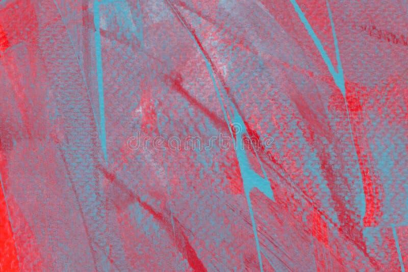 Sfondo acquoso a colori luminosi Tracciature di pennello blu chiaro disegnate a mano sullo sfondo rosa illustrazione di stock