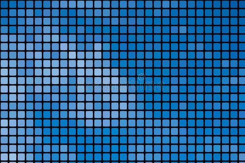 Sfondo blu di un mosaico astratto con piastrelle quadrate su nero, formato verticale illustrazione di stock