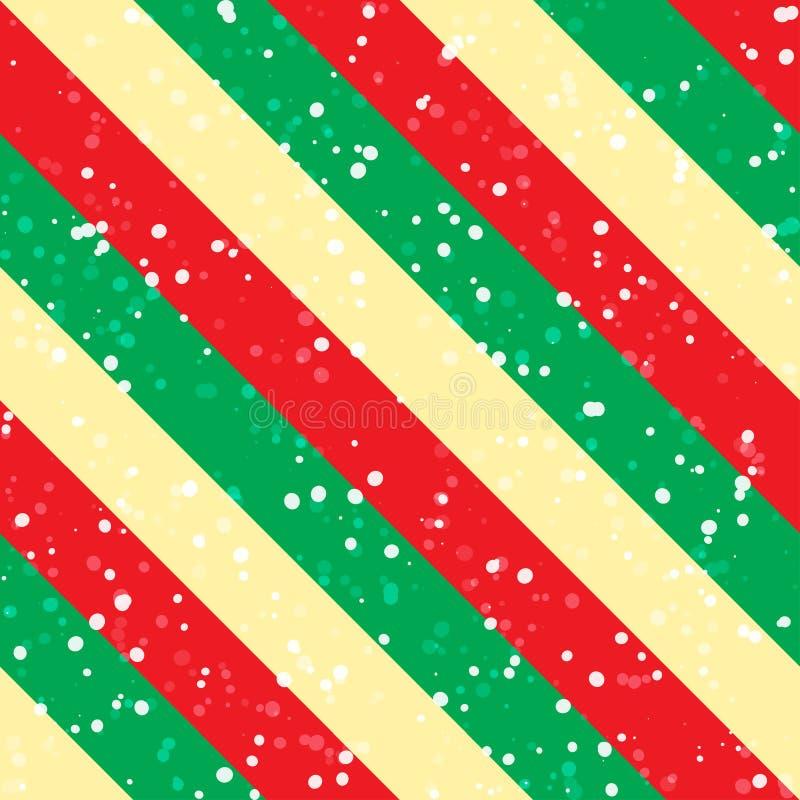 Sfondo natalizio con diagonale verde, rossa e gialla e neve Schema vettoriale senza saldatura royalty illustrazione gratis
