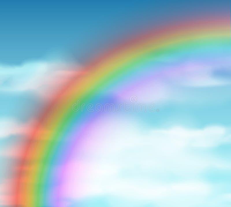 Sfondo naturale con il Rainbow illustrazione di stock