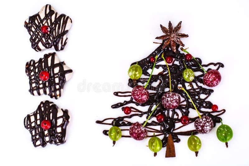 Sfondo naturale di Natale astratto su bianco Cioccolato Cristo fotografie stock