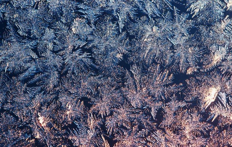 Sfondo naturale di Natale con un modello gelido sul vetro di inverno illuminato da luce solare fotografie stock