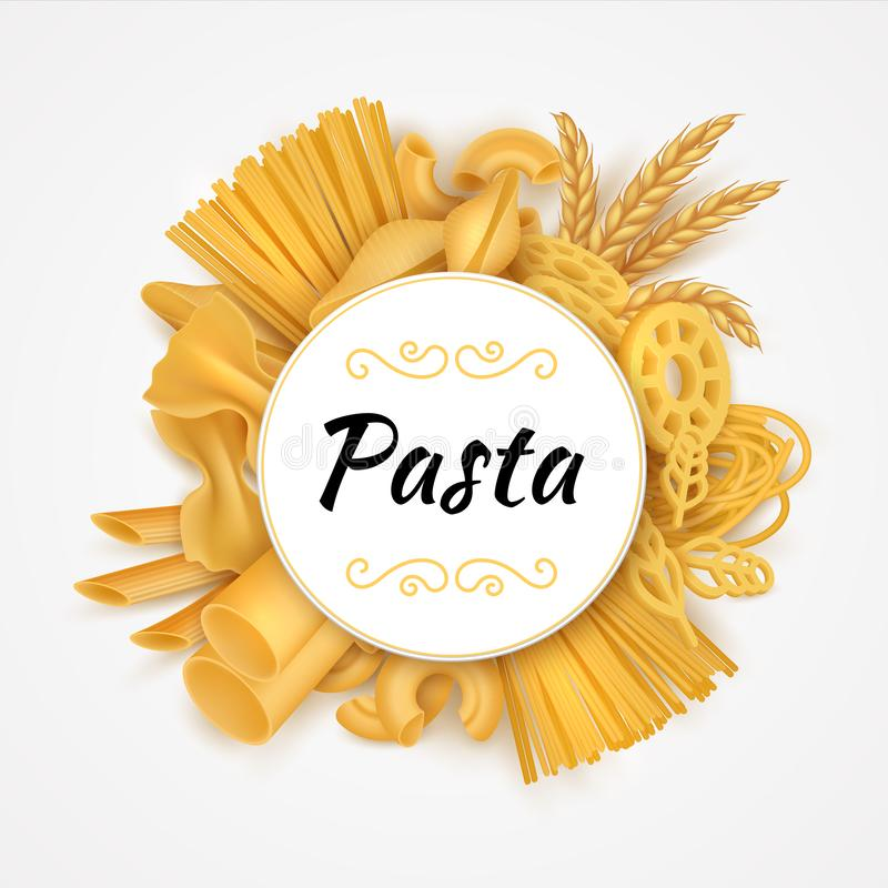Sfondo pasta Cucina italiana realistica tipi di maccheroni secchi, alimenti greggi per il frumento e prodotti a base di farina Ve illustrazione vettoriale