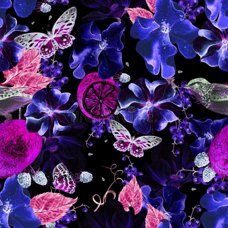 Sfondo privo di coloranti per acquerelli, petunia, magnolia e limone Orari, farfalle e uccelli Orgogliosi fiori da giardino reali royalty illustrazione gratis