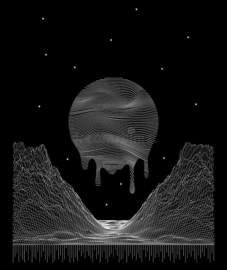 Sfondo spazio virtuale vettoriale astratto Illustrazione di una griglia di paesaggi montani e solari wireframe della tecnologia 3 illustrazione vettoriale