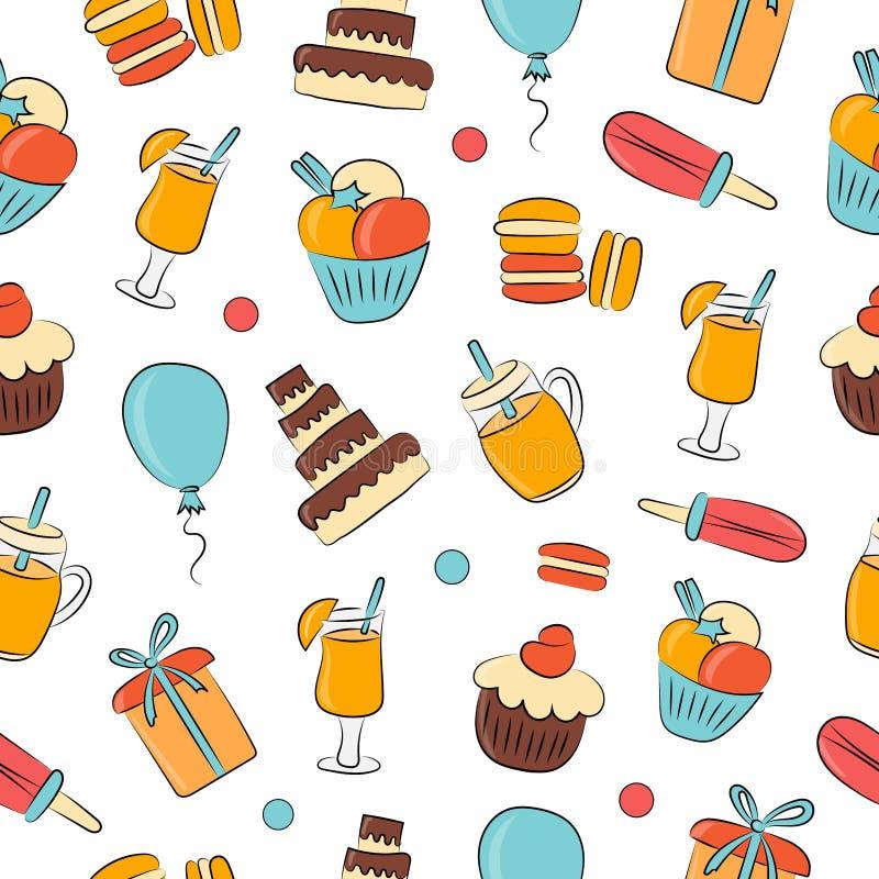 Sfondo vettoriale riassunto Bevande, pasticcini, dolci, regali per le vacanze Ottimo per il tessuto, illustrazione di stock