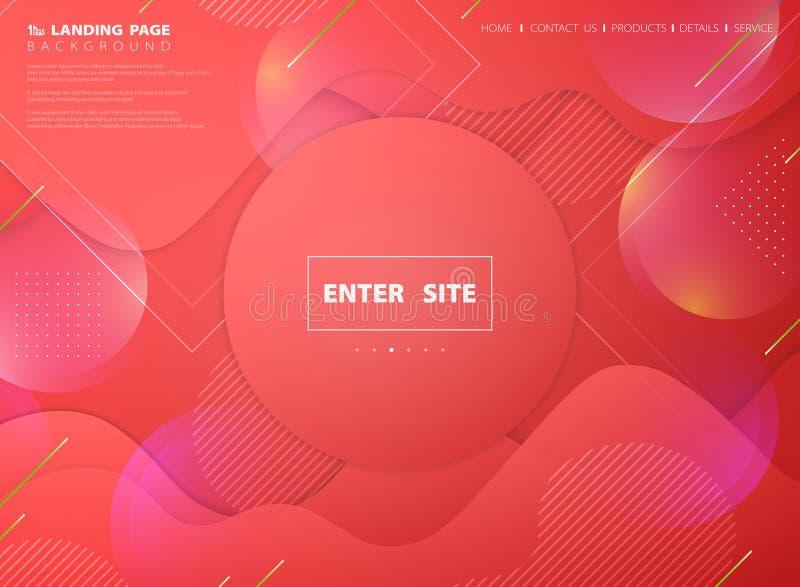Sfondo web della pagina iniziale del corallo vivente di colore rosa astratto del disegno geometrico vettoriale di illustrazione e royalty illustrazione gratis