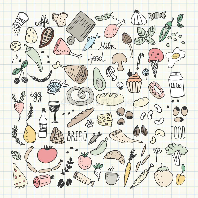 SFood doodles collection. Hand drawn vector icons. Freehand drawing royalty free illustration